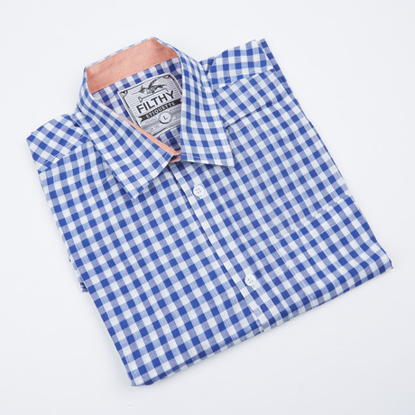 Greyson Check Button-Up // Blue + White (S)
