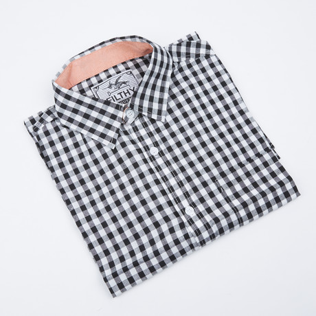 Greyson Check Button-Up // Black + White (S)