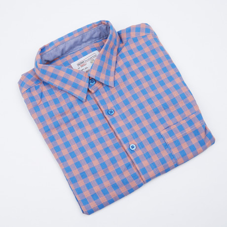 Howard Gingham Button-Up // Blue + Coral (S)