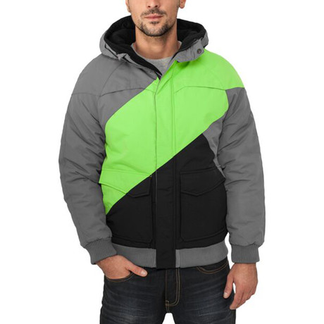 Zig Zag Fastlane Jacket // Grey + Lime Green + Black (S)