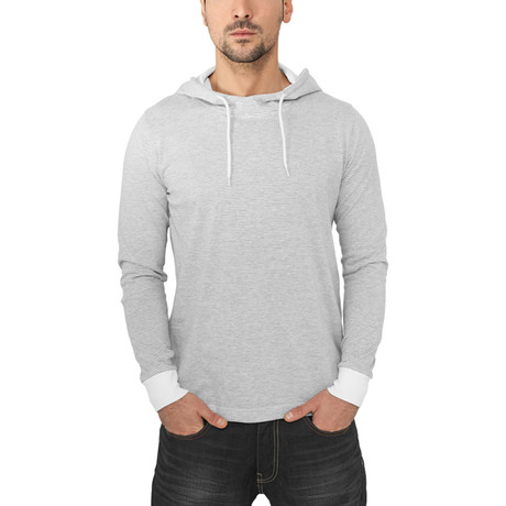 Stripe Jersey Hoody // Grey + White (S)