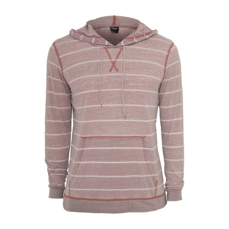 Striped Burnout Hoodie // Ruby + White (S)