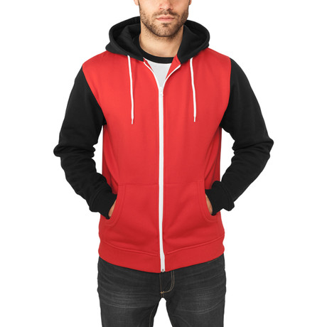 Relaxed 3-Tone Zip Hoody // Red + Black + White (S)