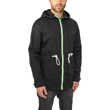 Long Nylon Windbreaker // Black + Mint + White (S)