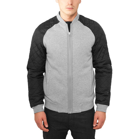 Diamond Nylon Sweatjacket // Grey + Black (S)