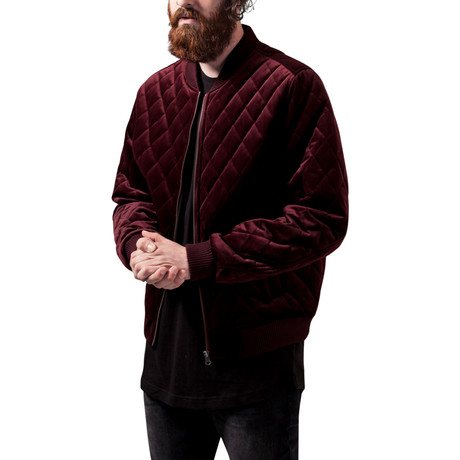 Diamond Quilt Velvet Jacket // Burgundy (S)