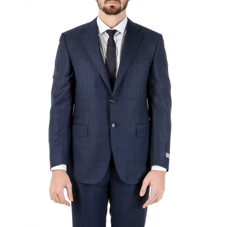 Frankfurt Windowpane Suit // Dark Blue (Euro: 50)
