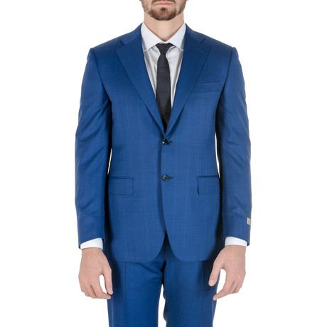 Quintin Windowpane Suit // Blue (Euro: 48)
