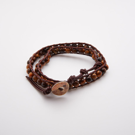 Double Wrap // Tiger Eye Stone Beads