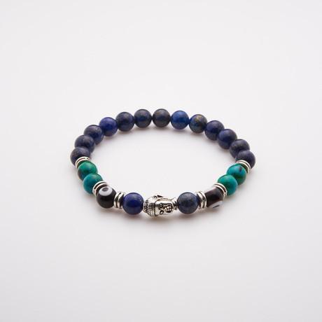 Lapis Lazuli Bracelet + Evil Eye + Silver Buddha