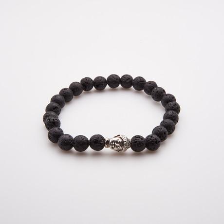Lava Stone Bead Buddha Bracelet + Om Charms