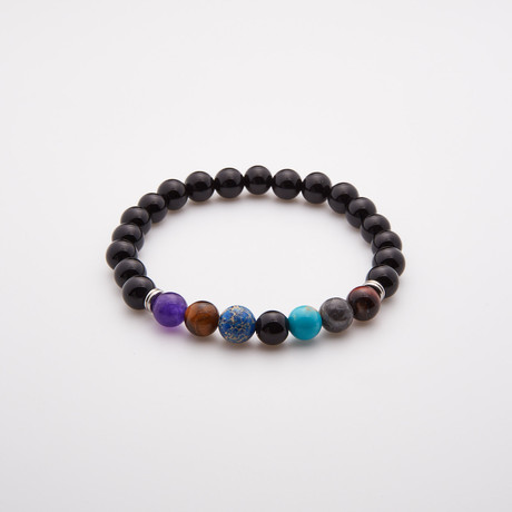 Black Onyx Beaded Bracelet // Multicolor