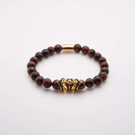 Red Tiger Eye + Black Crystal Beaded Bracelet