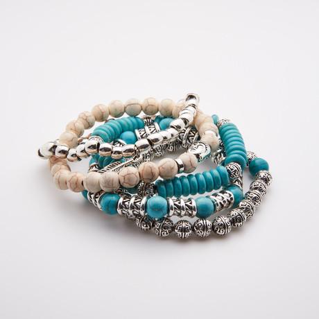 Jean Claude Jewelry // Boho Chic Natural Stone Bracelets Set // Set of 5 // Multicolor
