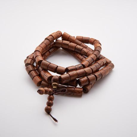 Jean Claude Jewelry // 108 Spiritual Natural Sandalwood Buddhist Beads Bracelet// Brown
