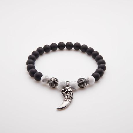 Horn Charm Bracelet // Howlite + Stainless Steel