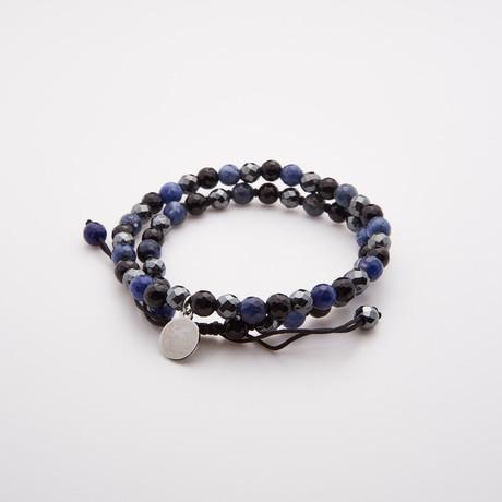 Night Adjustable Shamballa Bracelet // Blue + Multi // Set of 2