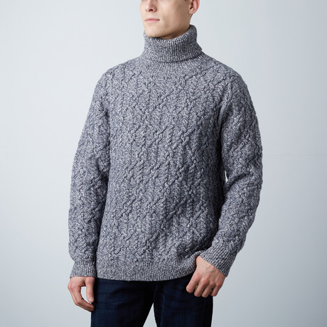 Loft 604 // Cashmere Blend Cable Knit Turtleneck // Navy Melange (S)