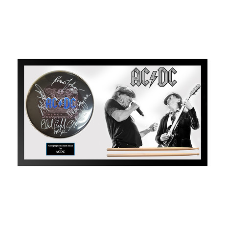 Autographed Drumhead Collage // AC/DC Duo