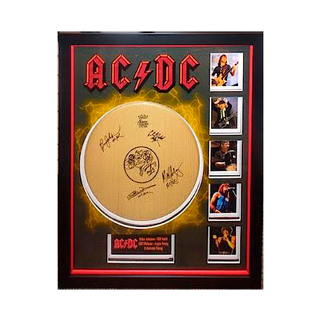 Autographed Drumhead Collage // AC/DC