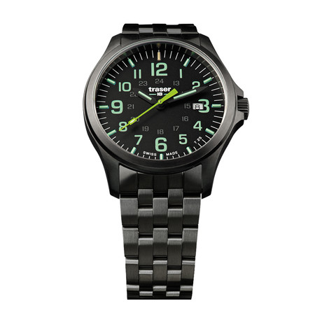 Traser Officer Pro Gun Metal Black Lime Steel Quartz // 107869