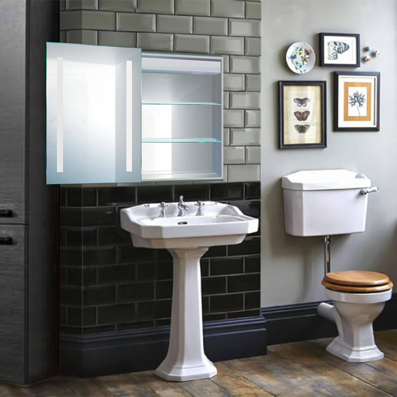 LED Medicine Cabinet + Defogger + Sliding Mirror // Outlet + Shelves