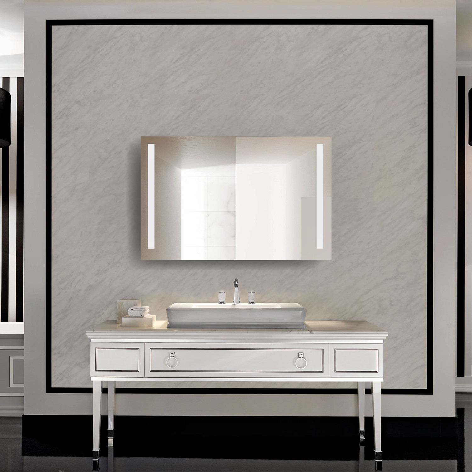 Led Medicine Cabinet Defogger Double Sliding Mirror Outlet Shelves Krugg Reflections