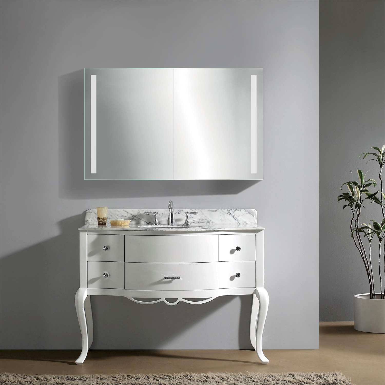 Led Medicine Cabinet Defogger Double Sliding Mirror Outlet Shelves Krugg Reflections