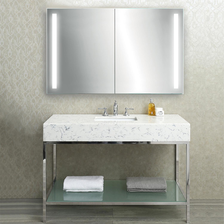 LED Medicine Cabinet + Defogger + Double Sliding Mirror // Outlet + Shelves