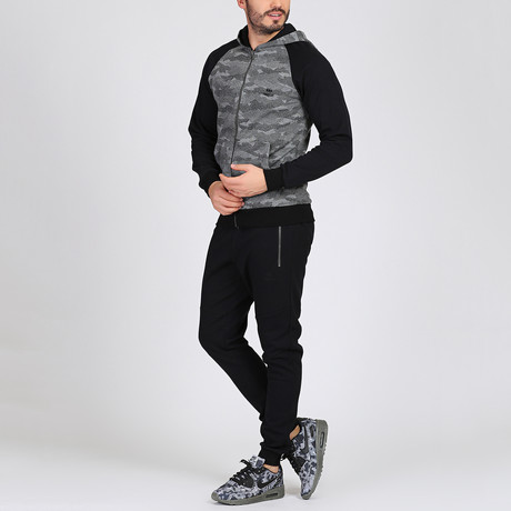 Hooded Track Suit // Gray + Black