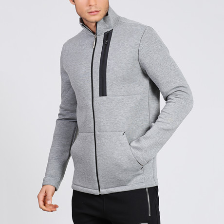 Emobossed Neck Zipper Sweater // Grey