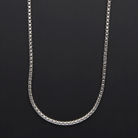 "Solid Sterling Silver Round Box Chain // 3.3mm (20"")"