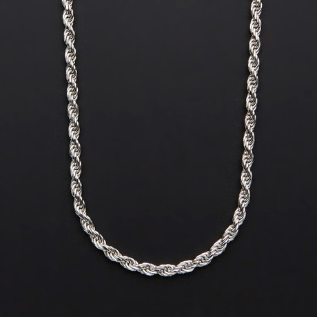 "Solid Sterling Silver Rope Chain Necklace // 4.5mm (22"")"