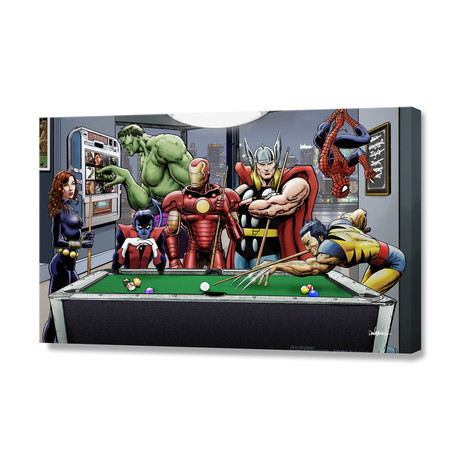"""Afterhours // Marvel Superheroes Relax Playing Pool (8""""H x 12""""W x 0.75""""D)"""