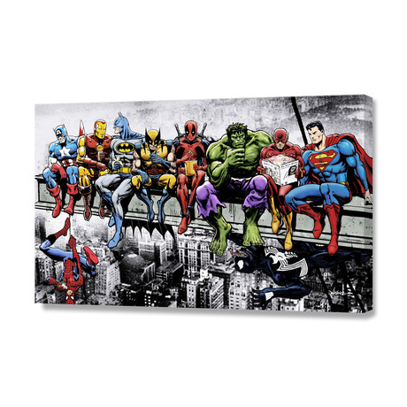 """Marvel and DC Superheroes Lunch Atop A Skyscraper (8""""H x 12""""W x 0.75""""D)"""
