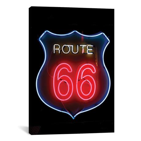"""Neon U.S. Route 66 Sign, Albuquerque, New Mexico, USA // Julien McRoberts (12""""W x 18""""H x 0.75""""D)"""