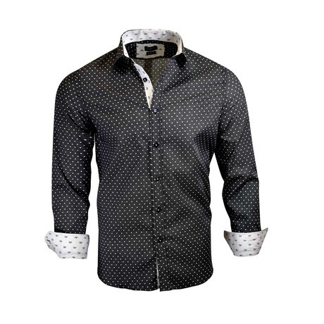 Bradley Modern-Fit Long-Sleeve Dress Shirt // Black (S)
