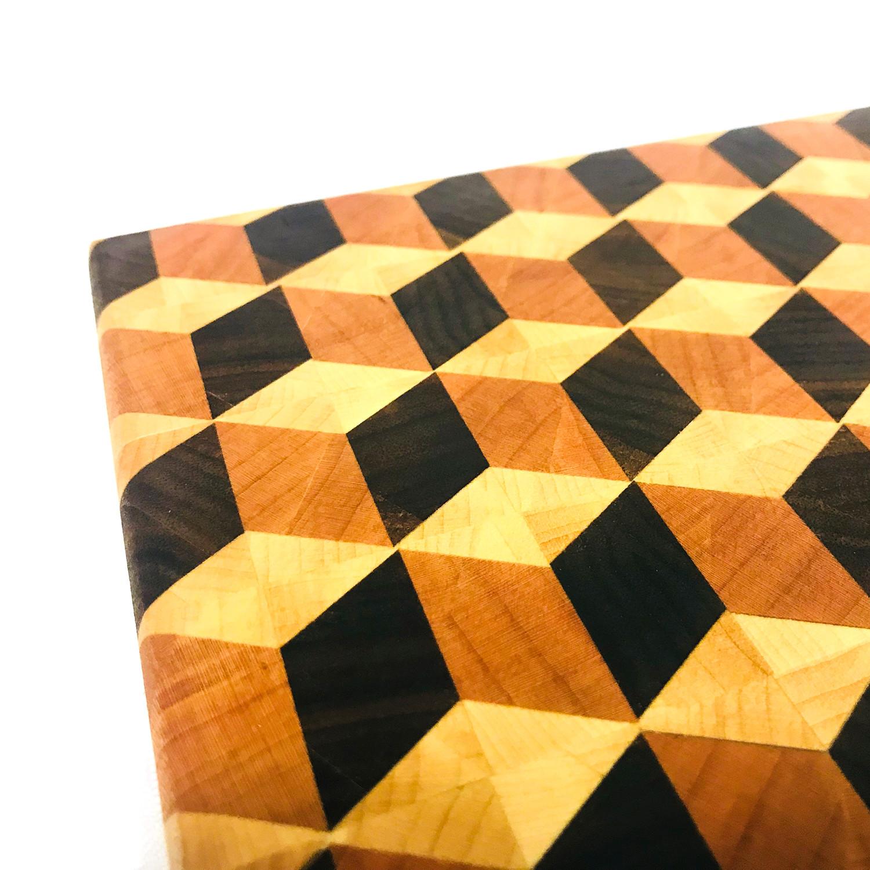 "3D Cube Board // Cutting Board (20""L X 16""W X 2""H)"