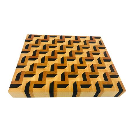 """3-D Zig Zag Pattern // Cutting Board (21"""" LX 21""""W X 2""""H + Juice Groove)"""