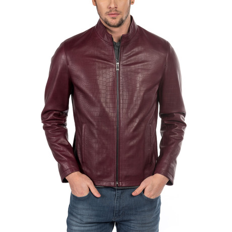 Amedeo Leather Jacket Slim Fit // Bordeaux (XS)