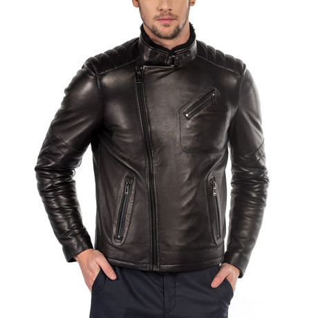 Pasqual Leather Jacket Slim Fit // Black (XS)