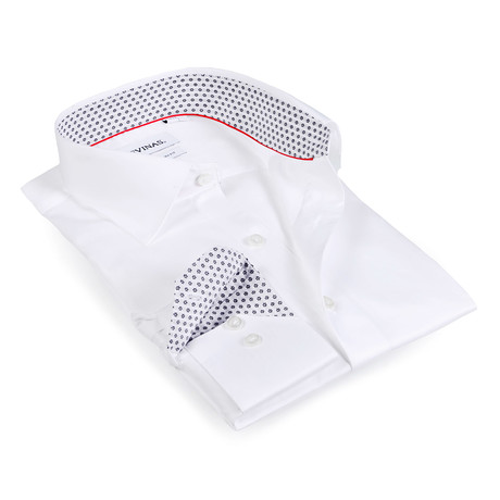 Snowflake Contrast Collar Button-Up Shirt // White + Black (S)