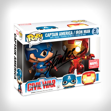 Captain America Vs Iron Man Funko Pop // Stan Lee Signed // 2 Pack