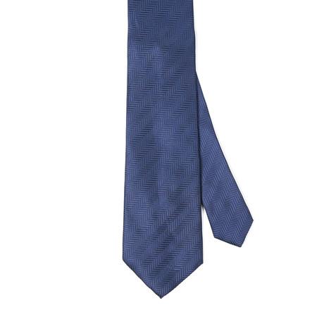 Paolo Lercara // Diego Silk Tie // Navy Small Diagonal Stripes