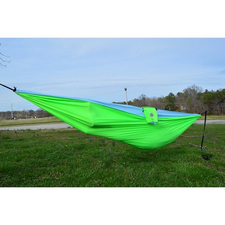 SomniSmart Recycled Double Hammock (Hyper Green + Big Sky Blue)