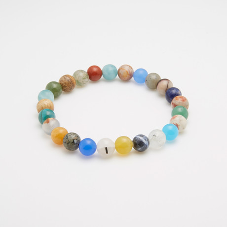 Multicolored Agate + Quartz Beaded Bracelet