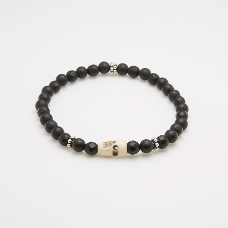 Adjustable Onyx Natural Bone Skull Charm Bracelet