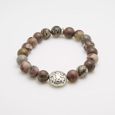 Dell Arte // Caledonian Leopard Jasper + Sterling Silver Bracelet // Brown Multi