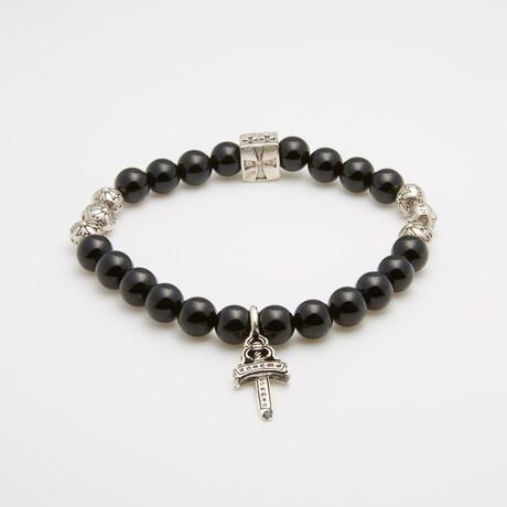 Jean Claude Jewelry // Maltesian Cross + Sword Bracelet // Black + Silver