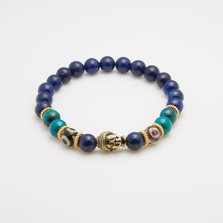 Evil Eye + Gold Buddha Beaded Bracelet